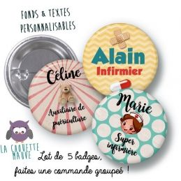 Lots de 5 badges 100% personnalisables rond grand format...