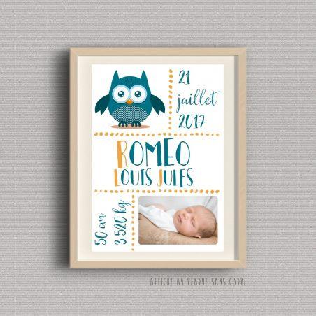 Affiche de naissance personnalisée à encadrer - Rose ou bleue La chouette mauve Livraison rapide Fabrication en France