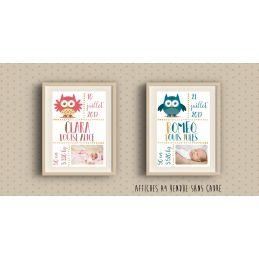 Affiche de naissance personnalisée à encadrer - Rose ou...