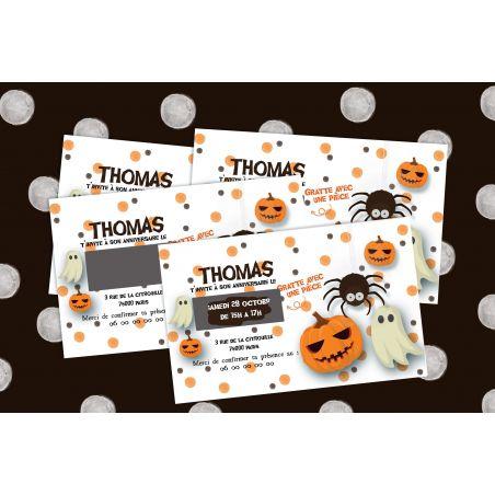 Cartons d'anniversaire Halloween personnalisés à gratter La chouette mauve Livraison rapide Fabrication en France