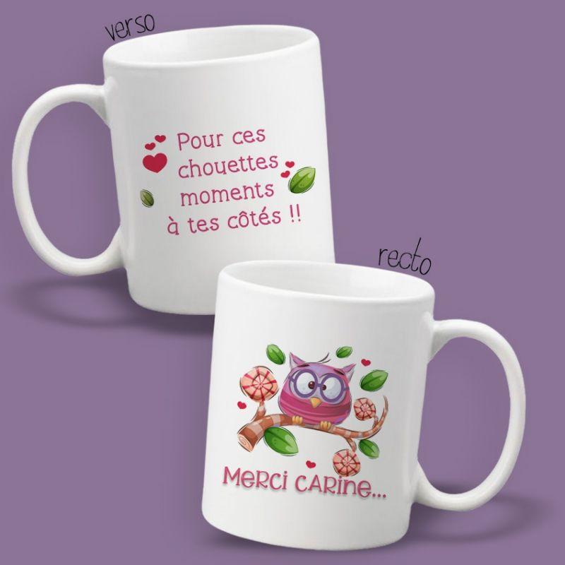 Mug personnalisable recto/verso Merci ! La chouette mauve Livraison rapide Fabrication en France